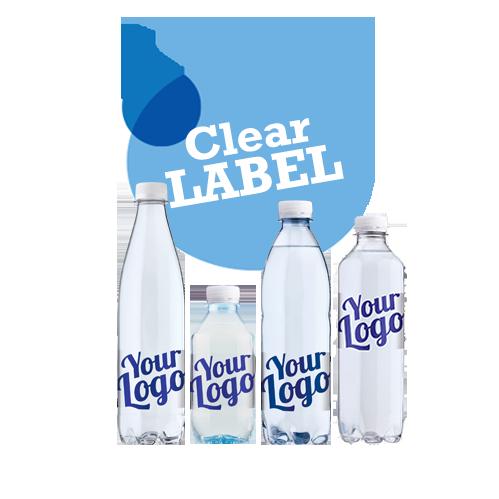 Logovand med transparent label - Drikkevand med din reklame