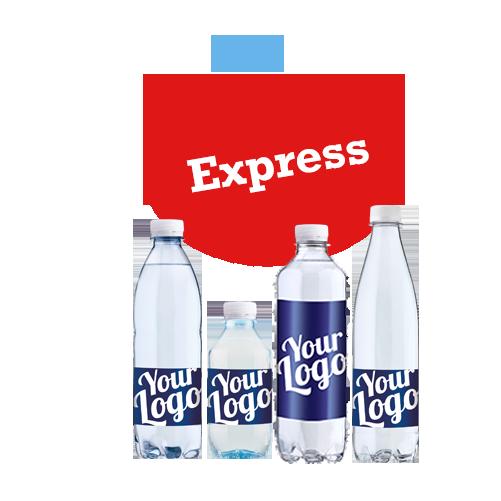 Haster det - Logovand med hurtig levering - Reklamevand med eget logo